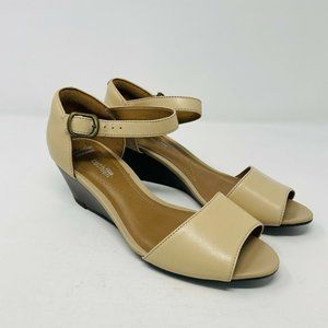 Clarks Collections 6.5W Wide Peep Toe Sandals S5